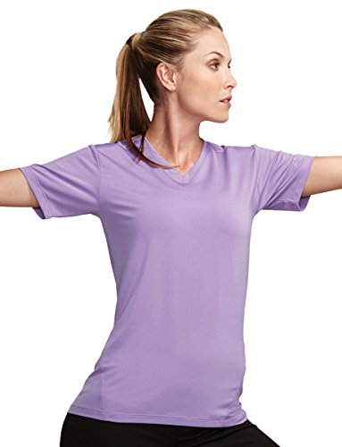 Tri Orchid (Tri-mountain Womens 85% Polyester, 15% Spandex V-Neck T-Shirt KL010 - SOFT ORCHID_XS)
