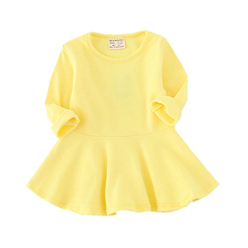Infant Toddler Baby Girls Dress Pink Ruffle Long Sleeves Cotton (18-24m(92), Yellow)