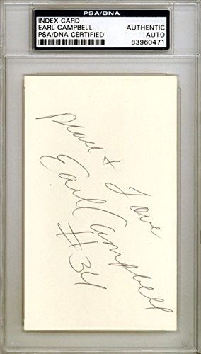 Earl Campbell Autographed Signed 3x5 Index Card Houston Oilers #83960471 PSA/DNA Certified NFL Cut Signatures