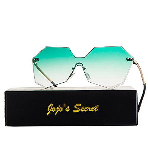 JOJO'S SECRET One Piece Rimless Sunglasses, Diamond Cutting Lens Eyewear JS020 (Gold/Green, - Piece Sunglasses Lens One