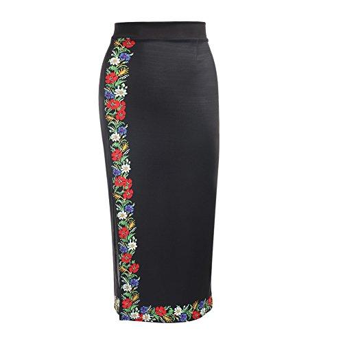 Crayon Taille Jupe Polyester Femmes Floral lgant Coton Haute Zipper Print Slit Longue Femme en BwdXXqp