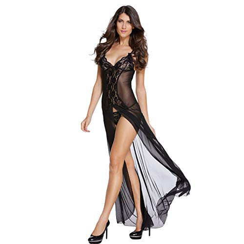 Jara Collection Women's Satin Sexy Floral Maxi Lingerie for Honeymoon with G-String (Black; Free Size)