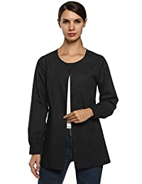 ANGVNS Women's Workwear Scrub Warm-Up Jacket Solid Color Jacket