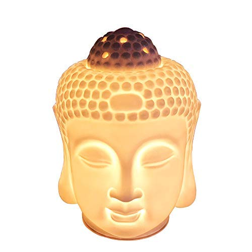 Moylor Porcelain Zen Buddha Head Status Electronic Essential Oil Warmer Scented Candle Tart Burner Night Lamp for Aromatherapy Spa Sleep ()