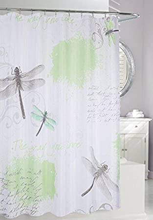 Amazon.com: Moda at Home 204181 Dragonfly Fabric Shower Curtain ...