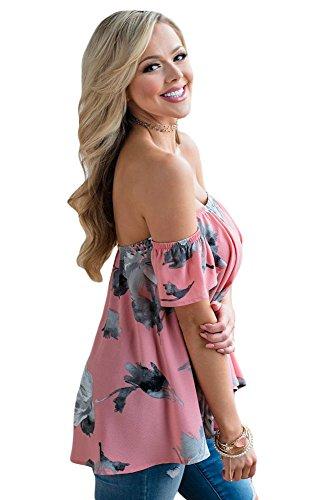 New rosa floreale off spalla camicetta estate camicia top casual Wear taglia UK 16EU 44