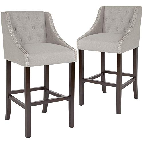 Taylor Logan 2 Pk. 30 High Transitional Tufted Walnut Barstool with Accent Nail Trim in Light Gray Fabric
