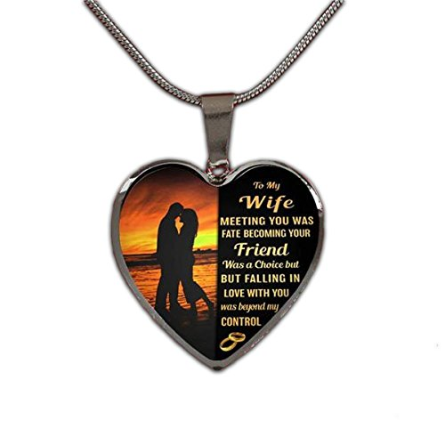 Stashix To My Wife Meeting You Was Fate Becoming Your Friend Luxury Silver Pendant Necklace Marriage Anniversary Love Wedding Birthday Gift For Her From Husband Hubby Customized Personalized Quote by Stashix