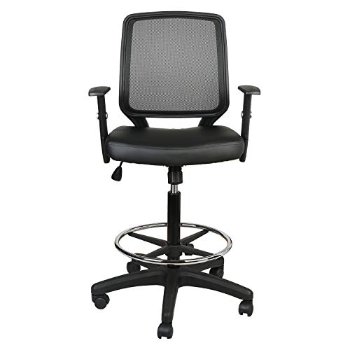 eclife Office Chair Black PU Leather Ergonomic Mesh Back Support Computer Chair Comfort Adjustable Tall Standing Swivel Chair with Foot Rest, Bar Chair, Armchair Fabric Seat OF-A03HP (Black PU)