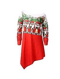 HHmei Womens Christmas Fashion Blouse Jingling Bell Print Hoodie Tops