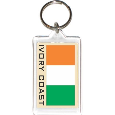 Acrylic KeyChains KeyRings Holders - Asia & Africa Grp 1 (1-Pack, Country: Ivory - Flag Coast Ivory Country
