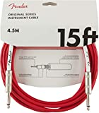 Fender Original Series Instrument Cable for Electric Guitar, Bass Guitar, Electric Mandolin, Pro Audio - Fiesta Red - 15\'