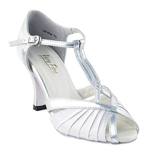 50 Nuances De Chaussures De Danse Argentées: Robe De Soirée Confort, Pompes De Mariage, Chaussures De Bal Pour Le Latin, Tango, Salsa, Swing, Art De La Nuit Par 50 Teintes (2,5, 3 Et 3,5) 2707- Satin Blanc & Argenté # 119