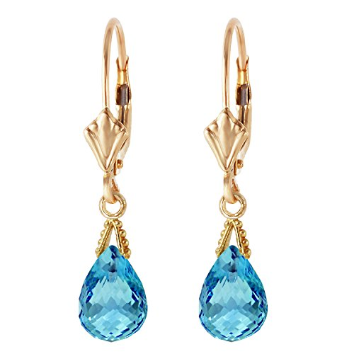 14K Solid Gold Leverback Earrings with 4.5 Carat (CTW) Briolette Blue Topaz ()