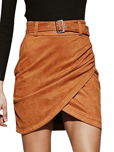 BerryGo Women's High Waist Faux Suede Mini Skirt Wrap Pencil Skirt with Belt Camel,M