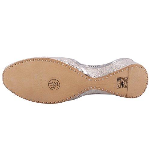 Unze Womens Ravchi Glittering Slip en Cuero Indiano Khussa Reino Unido Tamaño 3-8 Plateado