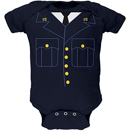 Halloween Military Formal Costume Soft Baby One Piece Navy 6 (Old Navy Halloween Costumes For Babies)