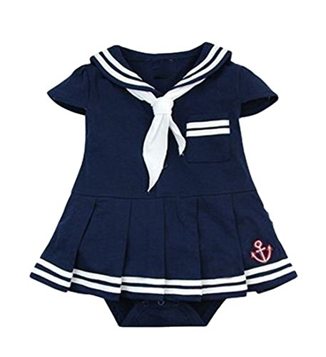 AvaCostume Baby Girls Sailor Suit Rompers, Blue 18M (Sailor Costume For Kids)