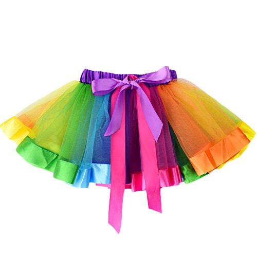 NinkyNonk Girls Rainbow Tutu Skirt Party Dress Outfits For 2-7 Years Baby