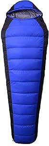 Izacu Flocc Nuevo Warm Winter camping Mummy–Saco de dormir 3–4temporada ligeros impermeables exterior down–Sacos de dormir, Blue (1.5kg)