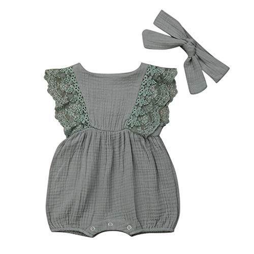 ♡QueenBB♡ Baby Girl Solid Lace Ruffled Strap Jumpsuit + Bow Headband Summer Sleeveless Halter Bodysuit for Toddler Girl Green
