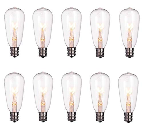10 Pack Edison Replacement Light Bulbs,7watt E17 Candelabra Screw Base ST40 Replacement Clear Glass Light Bulbs for Outdoor Patio ST40 String Lights, Warm White Light