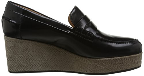 Castañer Valerie / Box Leather Woven Suede - Mocasines para mujer Sand / Black
