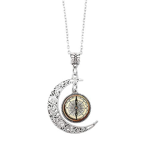 Kanyankeji Steampunk Compass Moon Pendant, Steampunk Compass Necklace,Vintage Compass Moon Jewelry, Moon Necklace Glass Art Picture (Silver)