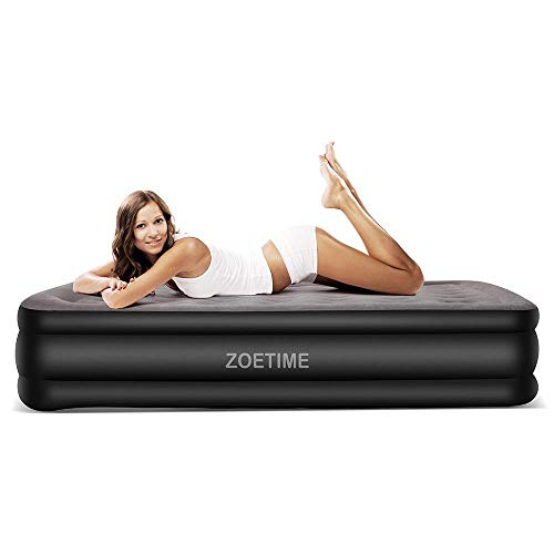 Zoetime Queen Size Air Mattress Raised Air Bed Blow Up Elevated Inflatable Airbed with Built-in Electric Pump, Storage Bag and Repair Patches Included, Max Height 22 Inch, Dim Gray, 2-Year Warranty