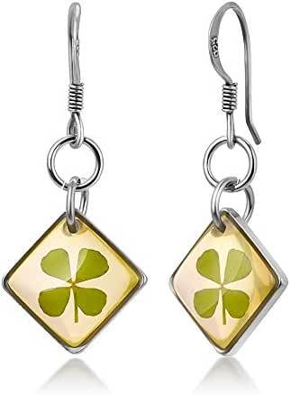925 Sterling Silver Real Four (4) Leaf Clover Symbol of Good Luck Square Dangle Hook Earrings 1.1