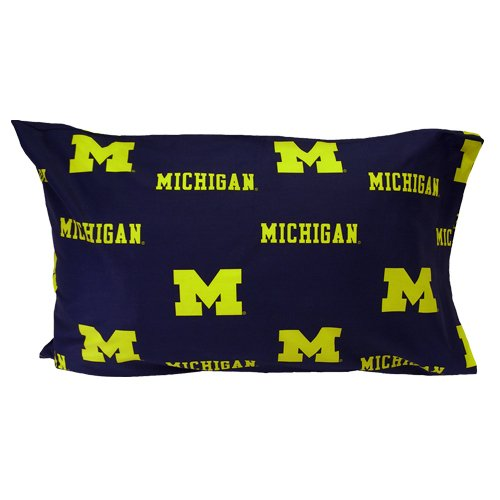 Michigan Printed Pillowcase - College Covers Michigan Wolverines Pillowcase Pair - Solid (Includes 2 Standard Pillowcases)
