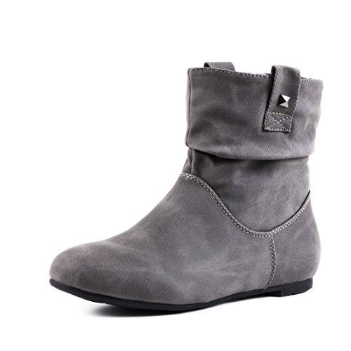 Basic Worker Boots Schlupf Stiefeletten in hochwertiger Lederoptik Grau Glattlederoptik