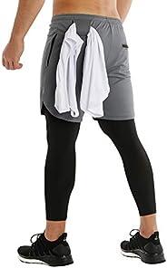 MECH-ENG Men's 2 in 1 Capri Pants Workout Running Training Gym Shorts Towel