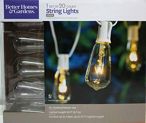Better Homes and Gardens Glass Edison String Lights Set of 20 White Wire (Better Garden Gardens Homes And Lights)