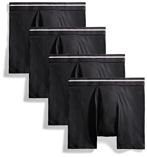 Goodthreads Men's 4-Pack Tag-Free Boxer Briefs, Black, XX-Large