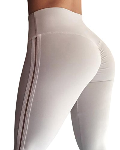 Ferbia Womens Striped Ruched Butt Leggings High Waist Slimming Yoga Pants Athletic Tights by Ferbia