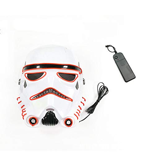 Mask LED Light up Purge Mask Frightening Wire Cosplay for Christmas Festival Parties Costume Sound Induction Flash (red-24218cm/power Switch Button) for $<!--$27.99-->
