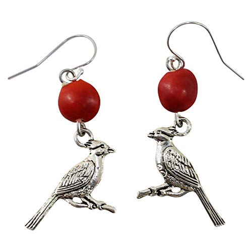 Peruvian Cardinal Gift Earrings for Women - Huayruro Red Seed - Dangles - Good Luck - Ecofriendly Red Earrings by EB