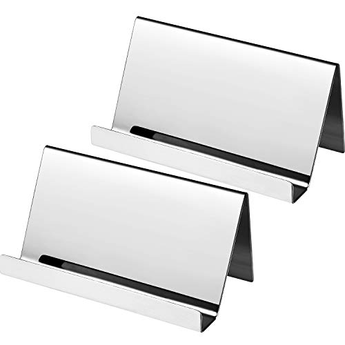 Silver Plated Business Card Holders - Maxdot 2 Pack Stainless Steel Business Cards Holders Desktop Card Display Business Card Rack Organizer (Silver)