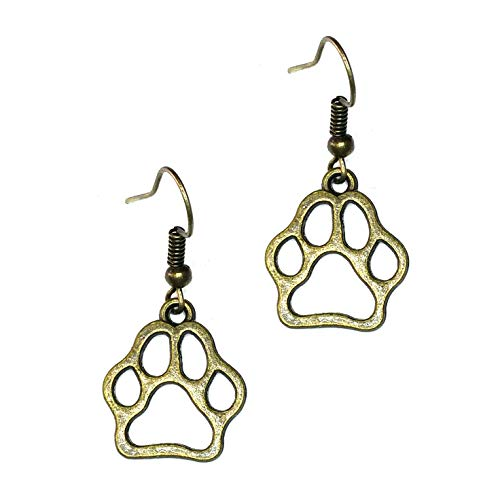 Joji Boutique Antiqued Gold Paw Print Outline Drop Earrings from Joji Boutique