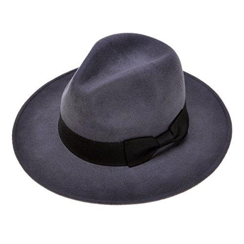 ZLYC Damen Hochwertige Moderne 100% Wolle Melone Jazz Hut mit Schleife