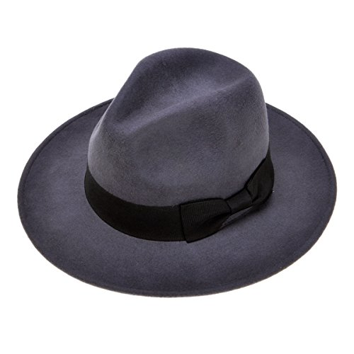 ZLYC Women Fashion 100% Wool Felt Wide Brim Fedora Hat Cap with Belt Bowknot, Gray