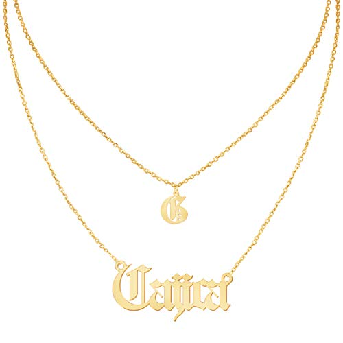 - Custom4U Personalized Name Necklace Custom Made Pendant Jewelry Gift for Women (Old English Layered Necklace)