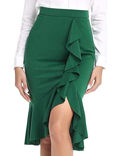 - ANGGREK Women Knee Length Solid Elegant Ruffle High Waist Work Pencil Skirt Dark Green M