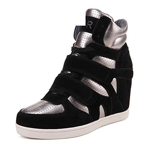 Versión coreana en los zapatos de primavera alta/Deportes y ocio calzan a las mujeres/Fondo plano de cuero aumentó stealth zapatos C