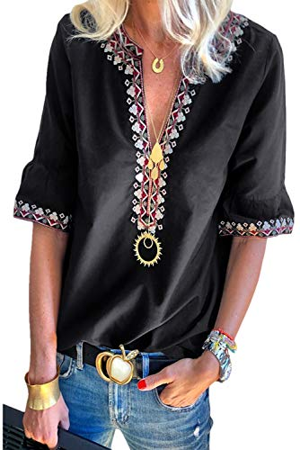 (Chase Secret Womens V Neck Boho Embroidered Shirt Short Sleeve Summer Tops Casual Blouses M Black )