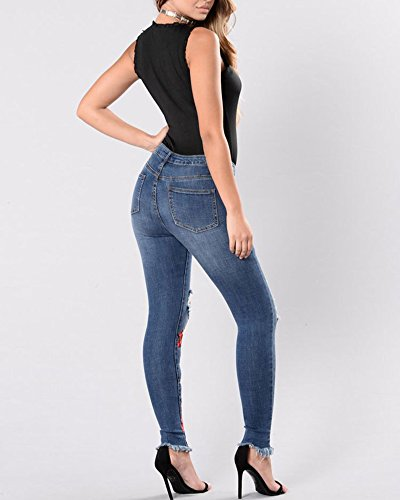 Fit Legging Jeans Basic Vita Blu Alta A Pantaloni Strappati marino Boyfriend Slim Donna Eleganti Pantaloni PZqRwxEP