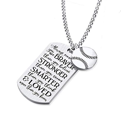 Dog Tag Stamped Necklace Baseball Player Pendant Dog Tag Necklace Inspirational Always Remember You are Braver to My Son/Daughter Family Friend Gift Sports Jewelry Baseball Necklace (Baseball)