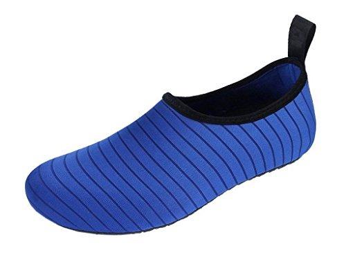 COMVIP Hombres Adulto Barefoot Zapatos de Piel de Agua Calcetines Yoga Secado rápido del Aqua Azul