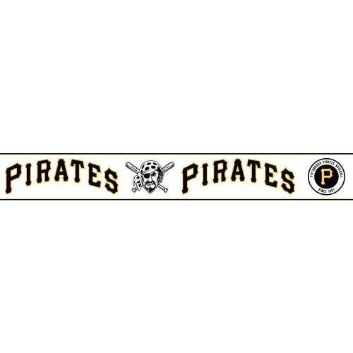 York Wallcoverings ZB3397BDSMP Boys Will Be Boys II Pittsburgh Pirates 8-Inch x 10-Inch Memo Sample Wallpaper-Borders, White/Navy/Golden Yellow
